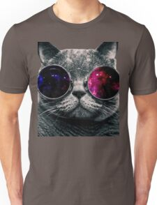 the glass is on the cat Unisex T-Shirt