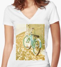 Aqua Beach Cruiser Women's Fitted V-Neck T-Shirt