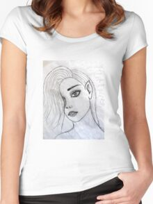 face portrait drawing grey 03/22/17 Women's Fitted Scoop T-Shirt