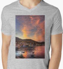 Setting Sun over Nimborio Men's V-Neck T-Shirt
