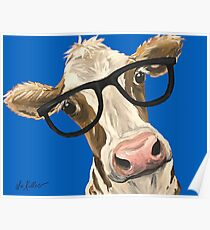 Cute cow art, cow with glasses Poster