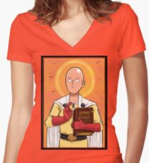 One punch man Women's Fitted V-Neck T-Shirt