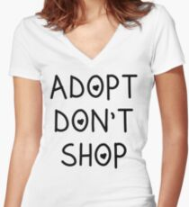 ADOPT DONT SHOP Women's Fitted V-Neck T-Shirt