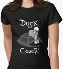Duck and Cover - Vintage Nuclear Attack Womens Fitted T-Shirt