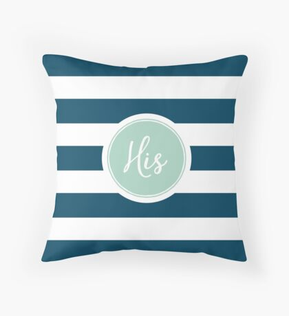 His Navy Striped Throw Pillow