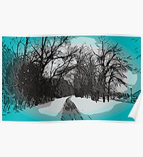 Out For a Walk - Winter Scene Poster