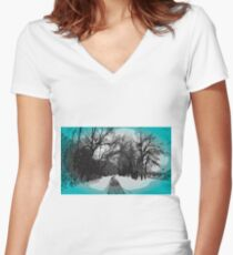 Out For a Walk - Winter Scene Women's Fitted V-Neck T-Shirt