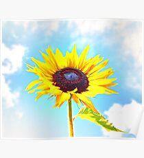 Beautiful Sunflower in Clouds Poster