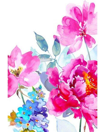 Aquarell Pfingstrose und Wildblumen von annmariestowe