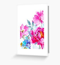 Watercolor Peony and Wildflowers Greeting Card