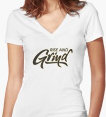 Rise and Grind Women's Fitted V-Neck T-Shirt