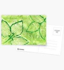 Green Painted Texture with Leaves Postcards