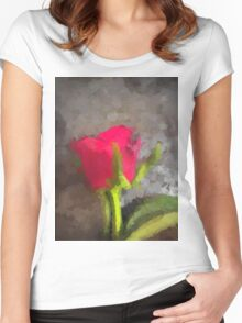 A Pink Rose Defies the Grey Women's Fitted Scoop T-Shirt