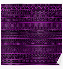 Tribal Pattern Purple on Black Poster