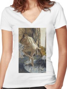 Edgar Degas - After The Bath 1 Women's Fitted V-Neck T-Shirt