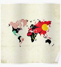 Floral world map posters redbubble flower map poster gumiabroncs Images