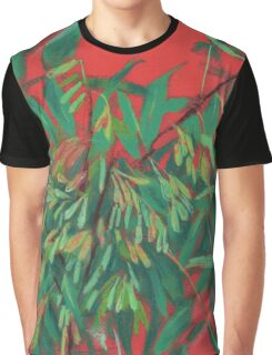 Ash-tree, floral art, red & green, summer greenery Graphic T-Shirt
