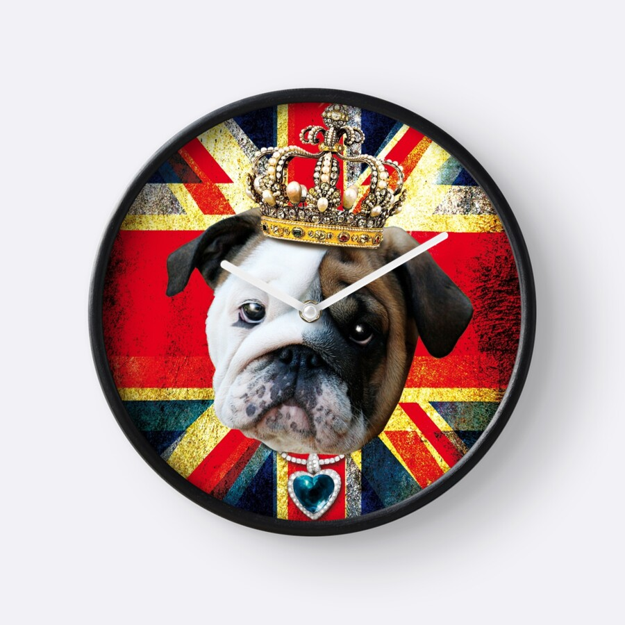 English bulldog bully union jack englische bulldogge king clocks english bulldog bully union jack englische bulldogge king by margarita art amipublicfo Images