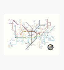 London Underground Tube Map and Film Genres Art Print