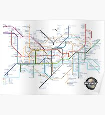 London Underground Tube Map and Film Genres Poster