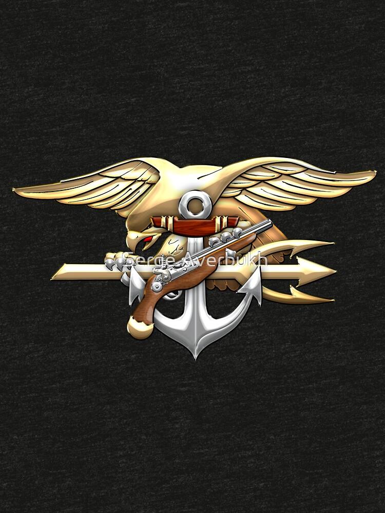 Us Navy Seals Trident Emblem Tri Blend T Shirt By Captain7