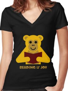 Reading Is Joy! Women's Fitted V-Neck T-Shirt