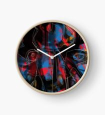 Abstraction and figurative on black and red Clock