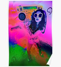 Pop Art Boombox Girl Poster