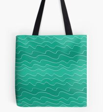 Blue waves seamless pattern, Doodle hand drawn background Tote Bag