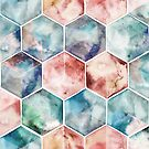 Earth and Sky Hexagon Watercolor by micklyn