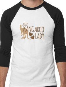 Crazy Kangaroo lady Men's Baseball ¾ T-Shirt