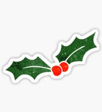retro cartoon christmas holly Sticker