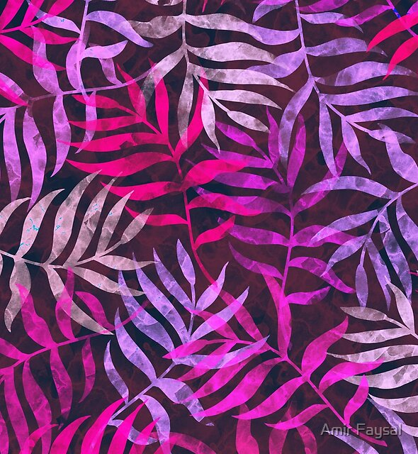 Watercolor Tropical Palm Leaves by Amir Faysal