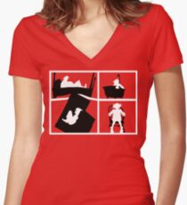 Gorillaz Saturnz Barz Silhouette (With Borders) Women's Fitted V-Neck T-Shirt