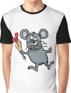 Cartoon mouse with flowers Graphic T-Shirt