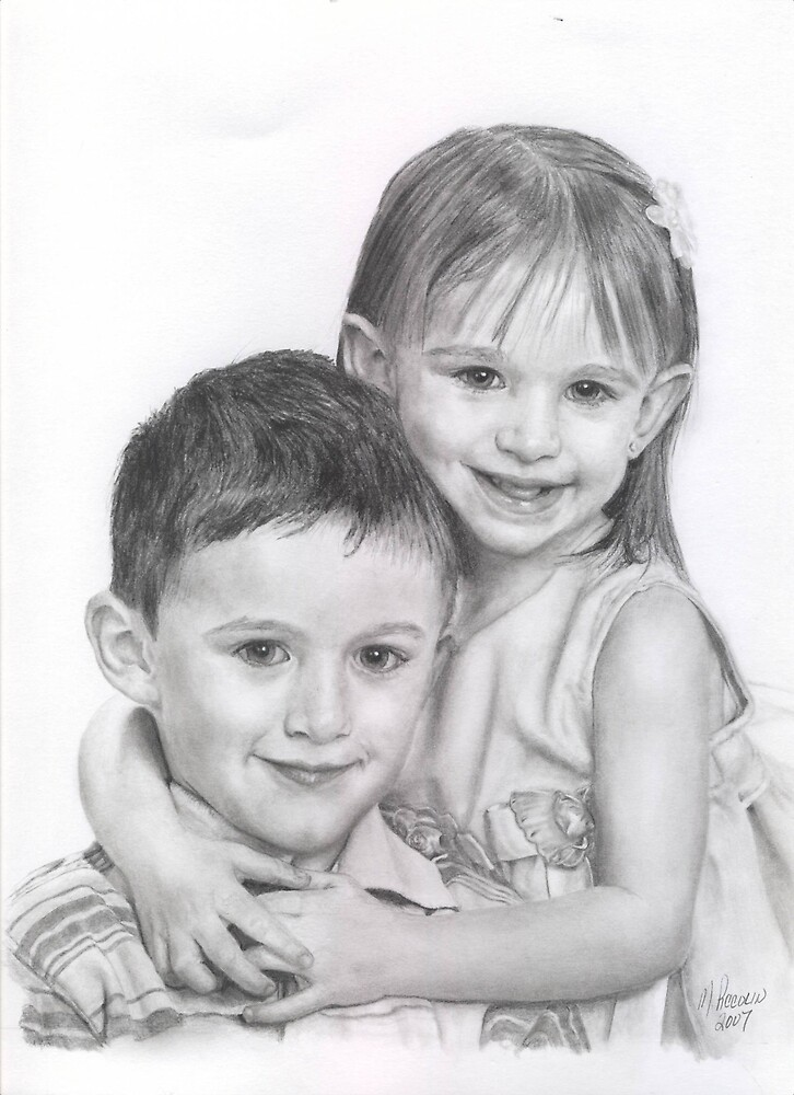 Two Cuties - graphite by Marlene Piccolin