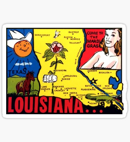 Louisiana State Map Vintage Travel Decal Sticker