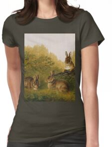 Arthur Fitzwilliam Tait - Rabbits On A Log Womens Fitted T-Shirt