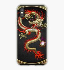 Golden Chinese Dragon Fucanglong on Black  iPhone Case