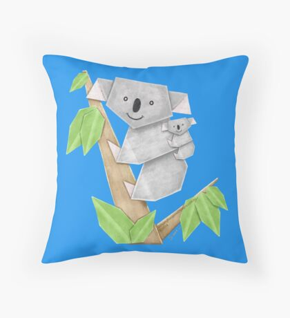 Cuddly Koala with cute Baby Origami Throw Pillow