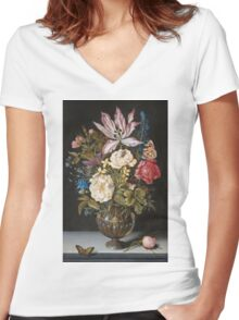 Ambrosius Bosschaerts The Elder - Still-Life With Flowers Women's Fitted V-Neck T-Shirt