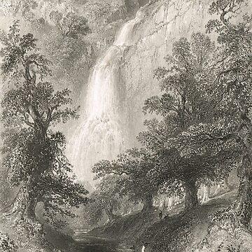 Powerscourt Waterfall, Wicklow, Ireland by artfromthepast