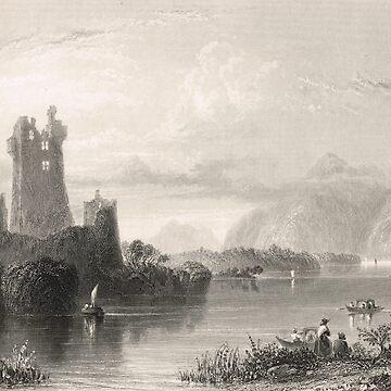 Ross Castle, Killarney, Ireland 1841 by artfromthepast
