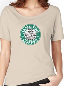 Twin Peaks Starbucks Parody Mashup Damn Fine Cup of Coffee Women's Relaxed Fit T-Shirt