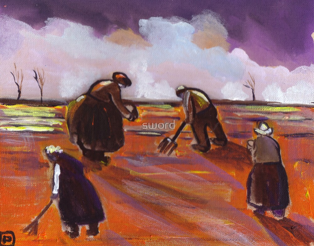 Peasants planting (from my original acrylic painting) by sword