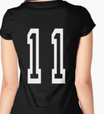 Eleven, 11, TEAM SPORTS, NUMBER 11, Eleventh, Competition, white on black Women's Fitted Scoop T-Shirt