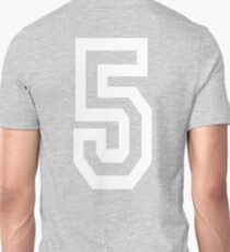 5, FIVE, TEAM, SPORTS, NUMBER 5, FIFTH, Competition, white on GREY T-Shirt