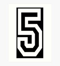 5, TEAM, SPORTS, NUMBER 5, FIFTH, FIVE, Competition, white on black Art Print