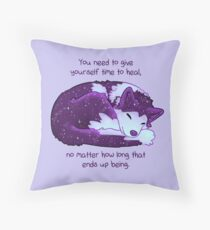 """You Need to Give Yourself Time to Heal"" Galaxy Pup Throw Pillow"