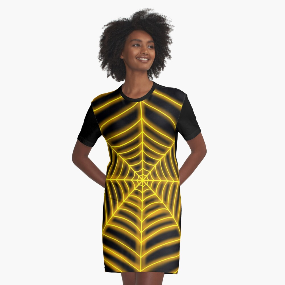 spider web (orange glowing) Graphic T-Shirt Dress Front